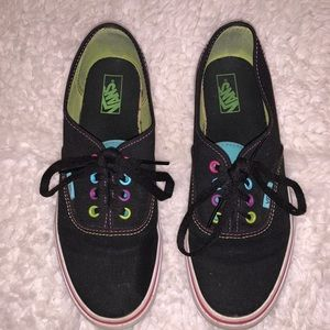 Multi-colored vans with black base